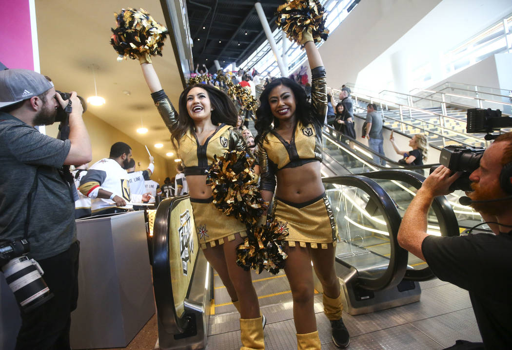 The Golden Aces entertain fans a pregame parade ahead of Game 1 of the NHL hockey Stanley Cup Final at the T-Mobile Arena in Las Vegas on Monday, May 28, 2018. Chase Stevens Las Vegas Review-Journ ...