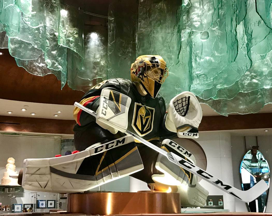 A five-foot-tall chocolate statue of Marc-Andre Fleury is shown at Bellagio Patisserie. (MGM Resorts International).