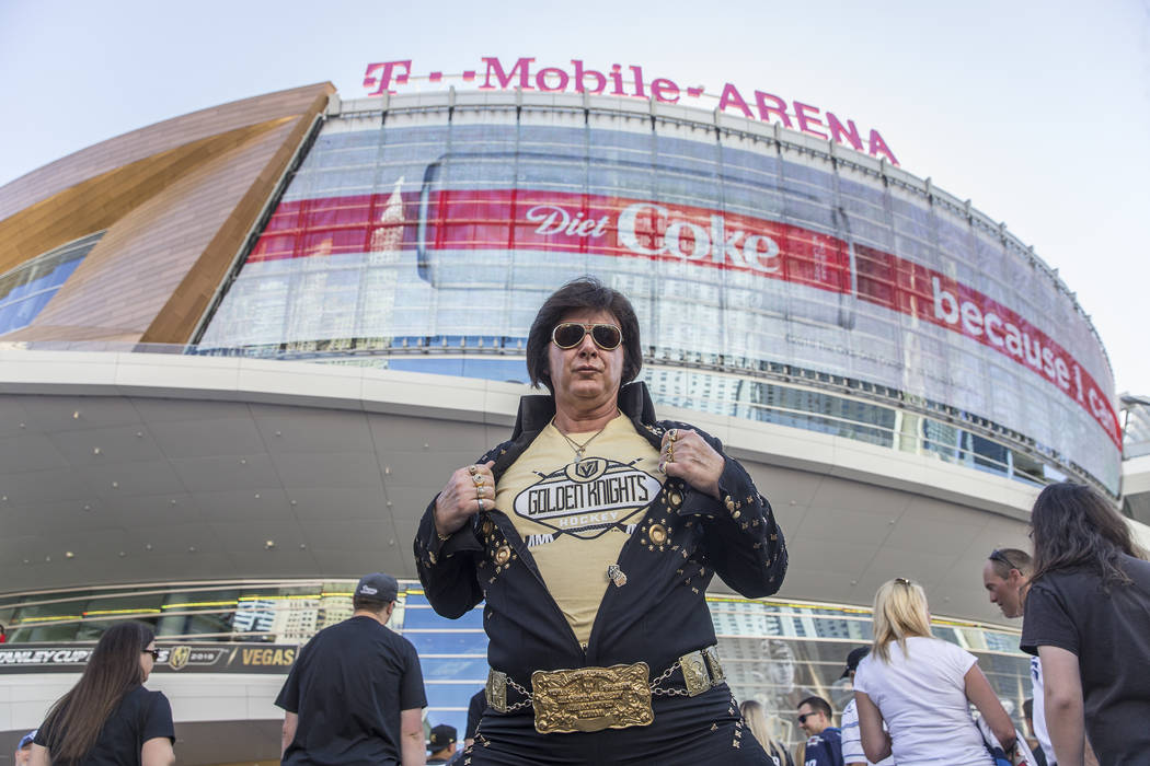 Golden Knights fan and Elvis impersonator Jeff Stanulis outside T-Mobile Arena before the start of game three of Las Vegas' NHL Western Conference Finals matchup with the Winnipeg Jets on Wednesda ...