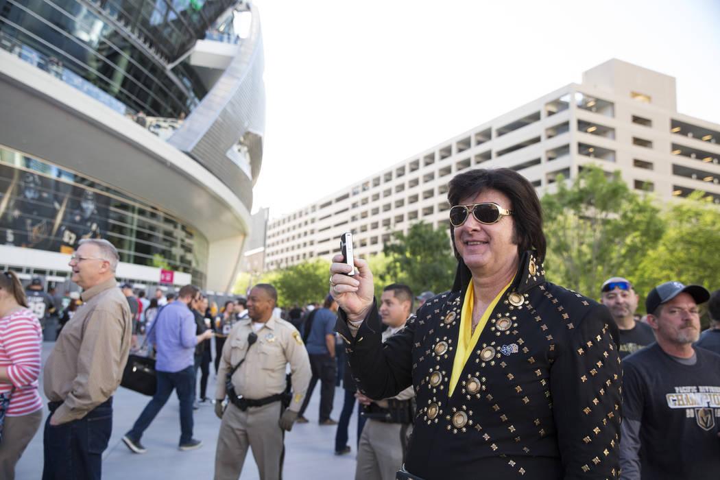 Elvis impersonator Jeff Stanulis at Toshiba Plaza before the Vegas Golden Knights playoff game in Las Vegas, Friday, April 13, 2018. Las Vegas Review-Journal @Erik_Verduzco