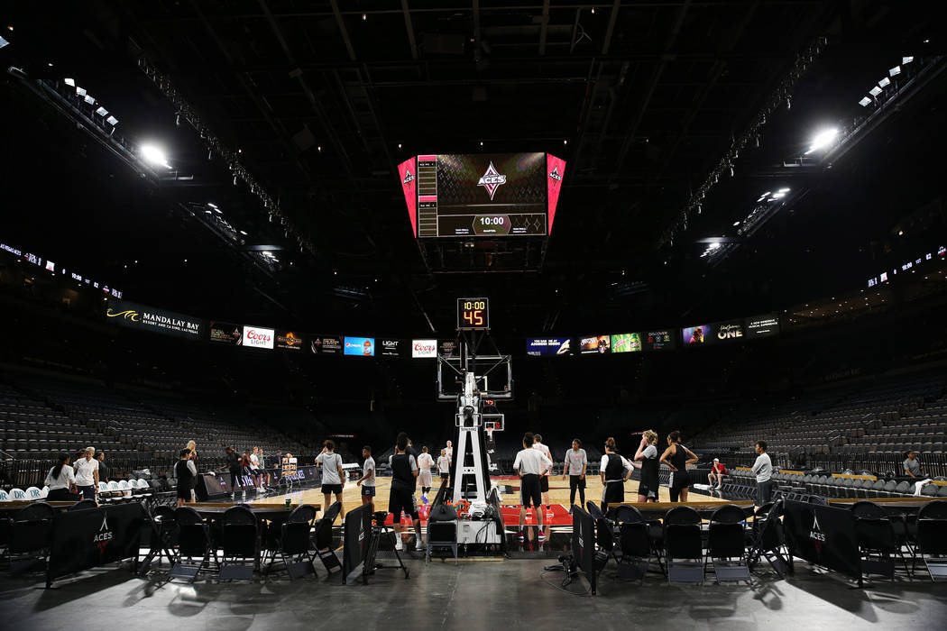 The Las Vegas Aces practice at the Mandalay Bay Events Center in Las Vegas, Friday, May 25, 2018. Erik Verduzco Las Vegas Review-Journal @Erik_Verduzco