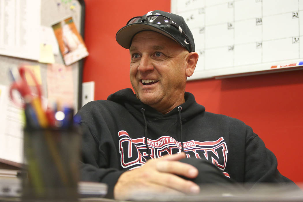 UNLV baseball coach Stan Stolte at the team's clubhouse at UNLV in Las Vegas on Wednesday, March 21, 2018. Chase Stevens Las Vegas Review-Journal @csstevensphoto