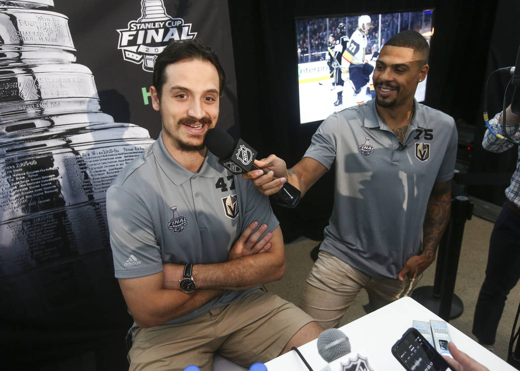 Golden Knights right wing Ryan Reaves (75) interviews defenseman Luca Sbisa (47) during NHL hockey media day for the Stanley Cup Final at the T-Mobile Arena in Las Vegas on Sunday, May 27, 2018. C ...