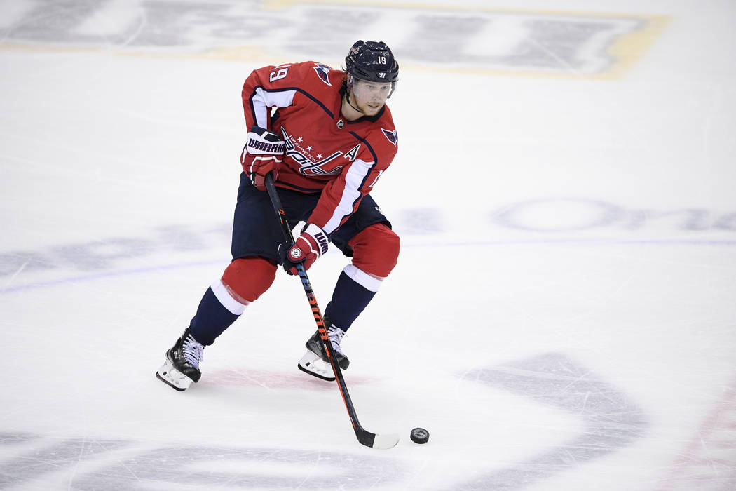 Washington Capitals center Nicklas Backstrom (19), of Sweden, skates with the puck during the third period of Game 4 of the NHL Eastern Conference finals hockey playoff series against the Tampa Ba ...