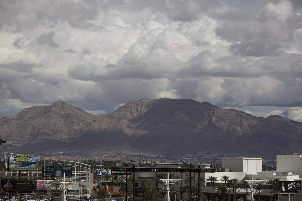 Clouds around the Las Vegas Valley, Thursday, March 15, 2018. (Richard Brian/Las Vegas Review-Journal)