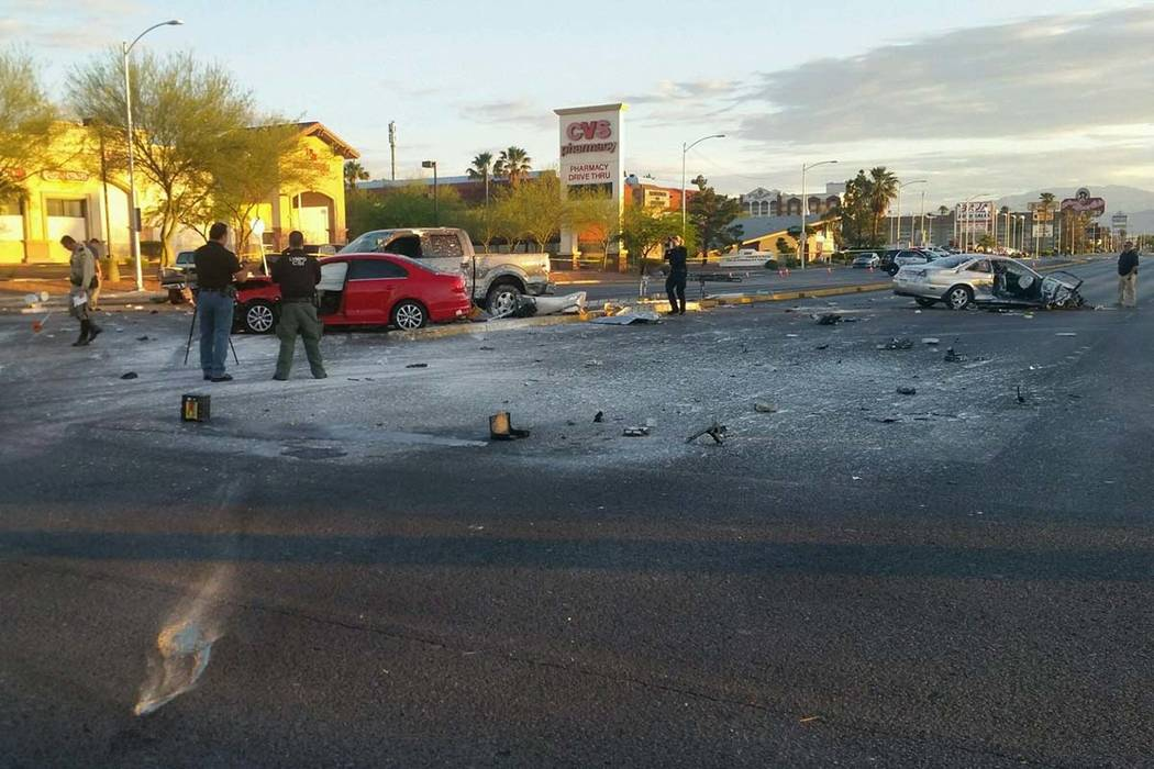 Debris in the intersection at Charleston and Decatur boulevards is visible in this photo tweeted by @LVMPD_Traffic. Police advise motorists to avoid the area. (Las Vegas Metropolitan Police Depart ...