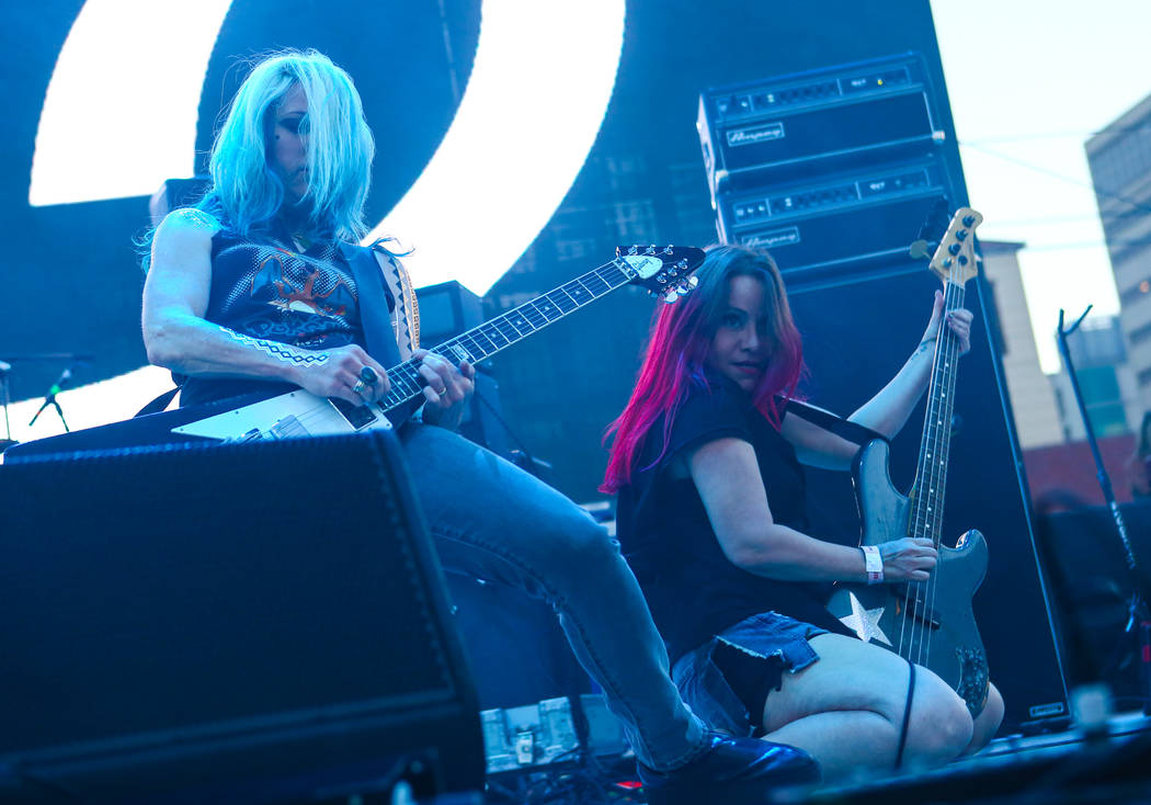 Donita Sparks, left, and Jennifer Finch of L7 perform during the first day of the Punk Rock Bowling music festival in downtown Las Vegas on Saturday, May 26, 2018. Chase Stevens Las Vegas Review-J ...