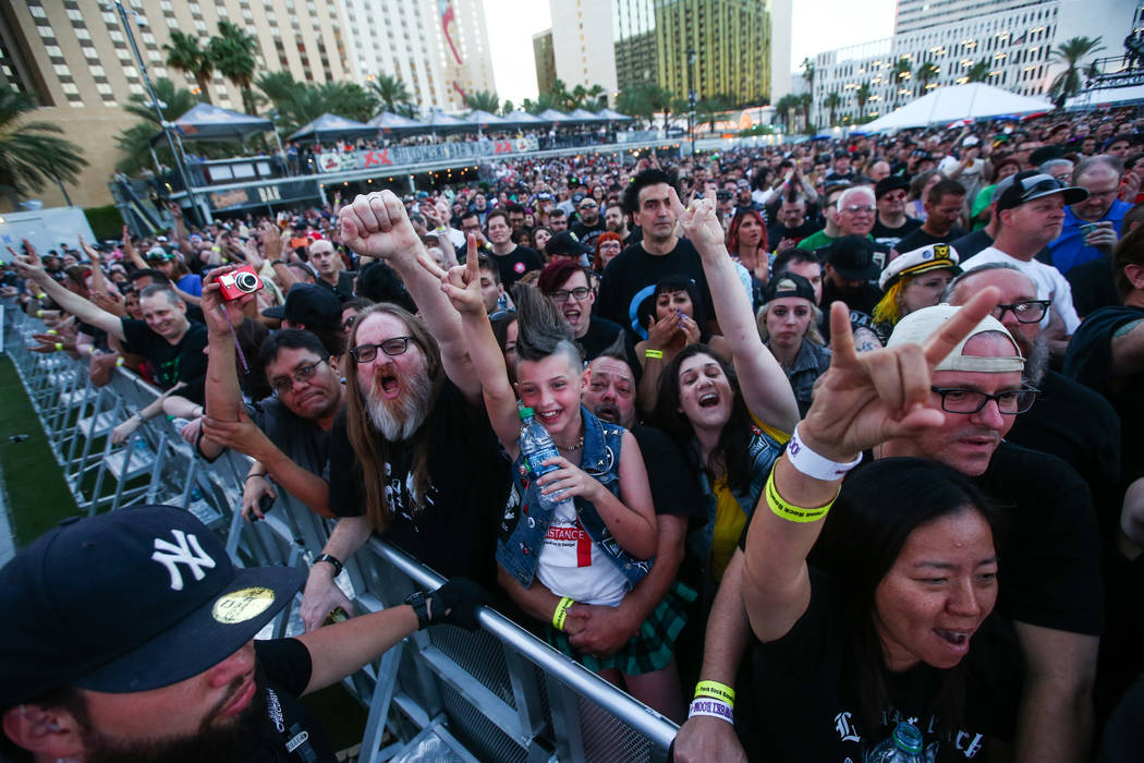 Attendees react as L7 performs during the first day of the Punk Rock Bowling music festival in downtown Las Vegas on Saturday, May 26, 2018. Chase Stevens Las Vegas Review-Journal @csstevensphoto