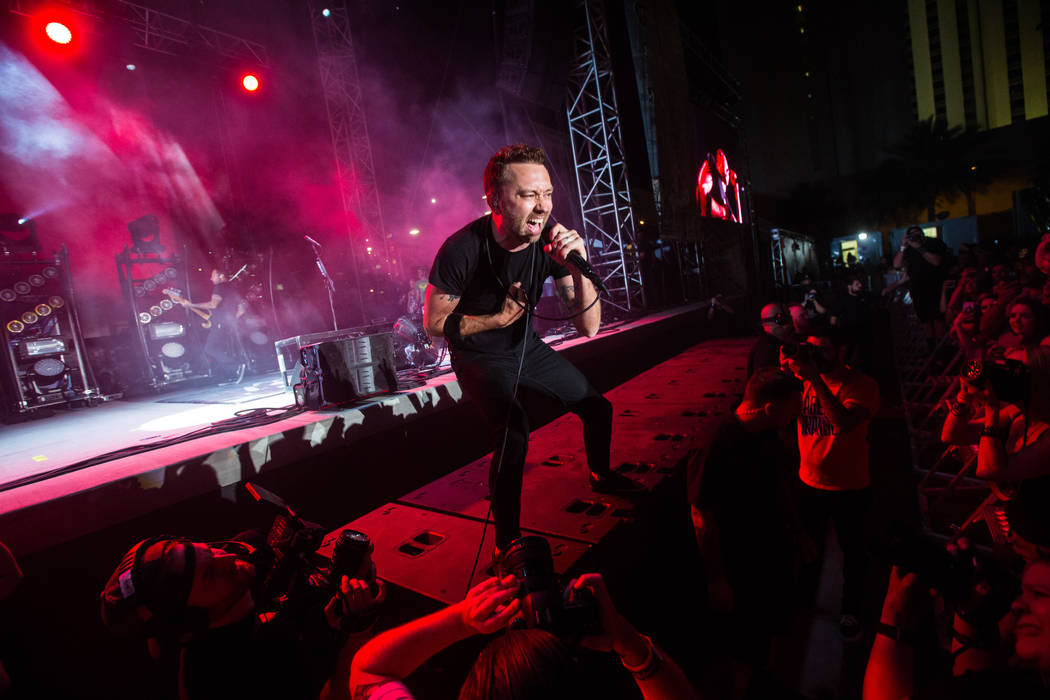 Tim McIlrath of Rise Against performs during the first day of the Punk Rock Bowling music festival in downtown Las Vegas on Saturday, May 26, 2018. Chase Stevens Las Vegas Review-Journal @cssteven ...