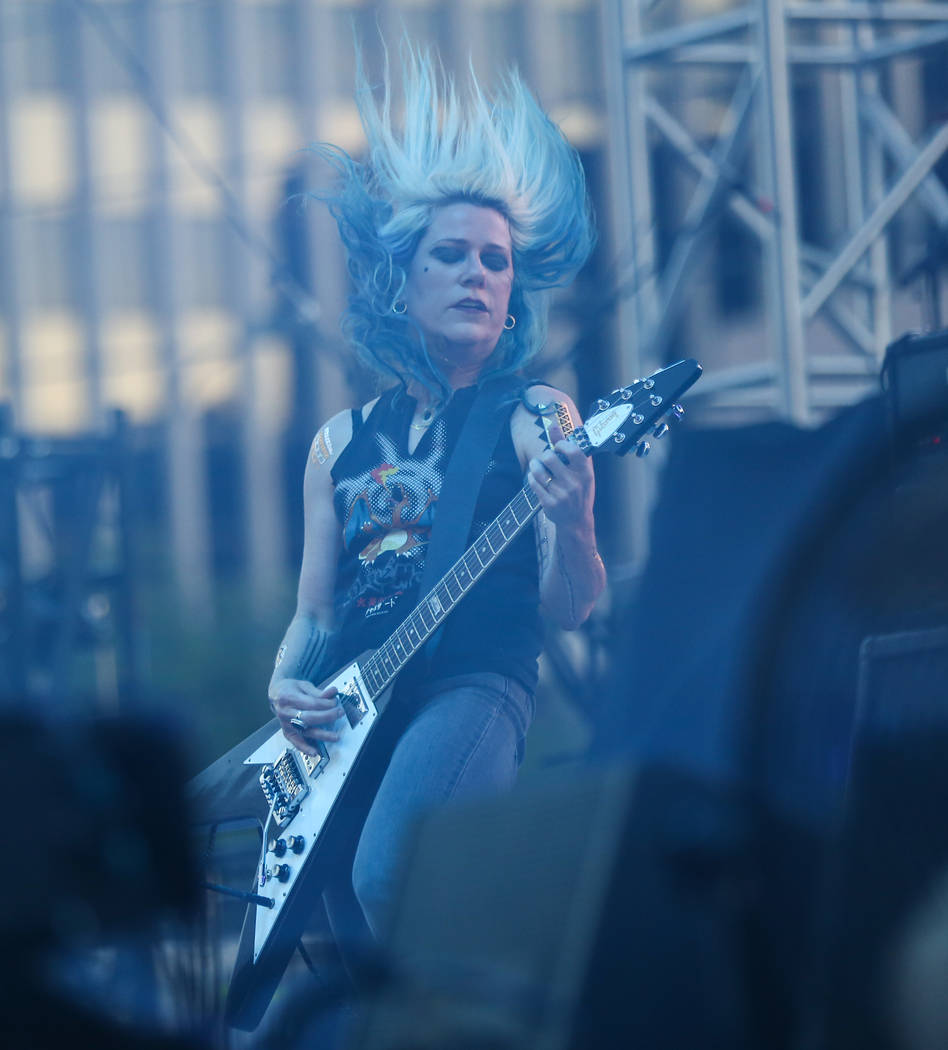Donita Sparks of L7 performs during the first day of the Punk Rock Bowling music festival in downtown Las Vegas on Saturday, May 26, 2018. Chase Stevens Las Vegas Review-Journal @csstevensphoto