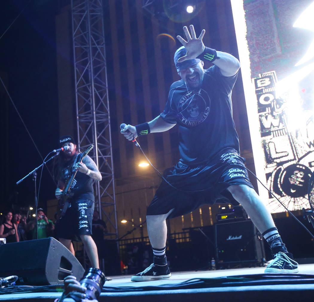 Mike Muir, right, of Suicidal Tendencies performs during the first day of the Punk Rock Bowling music festival in downtown Las Vegas on Saturday, May 26, 2018. Chase Stevens Las Vegas Review-Journ ...