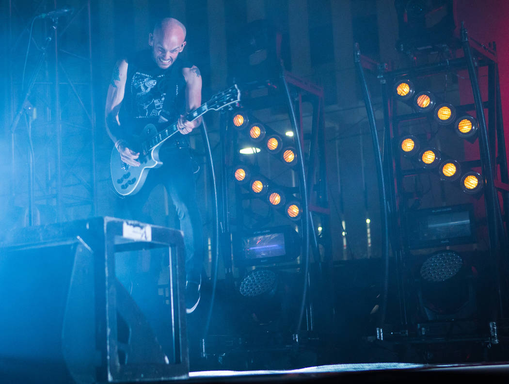 Zach Blair of Rise Against performs during the first day of the Punk Rock Bowling music festival in downtown Las Vegas on Saturday, May 26, 2018. Chase Stevens Las Vegas Review-Journal @csstevensphoto