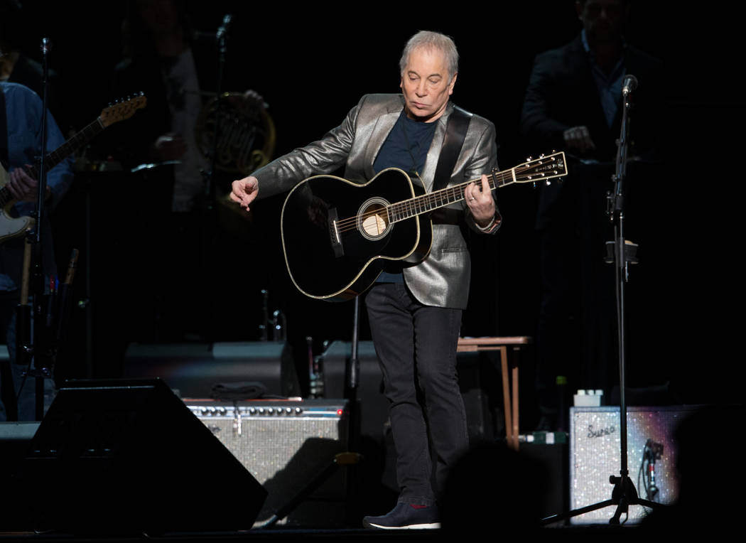 Paul Simon performs at the MGM Grand Garden Arena in Las Vegas on Sunday, May 27, 2018. Chase Stevens Las Vegas Review-Journal @csstevensphoto