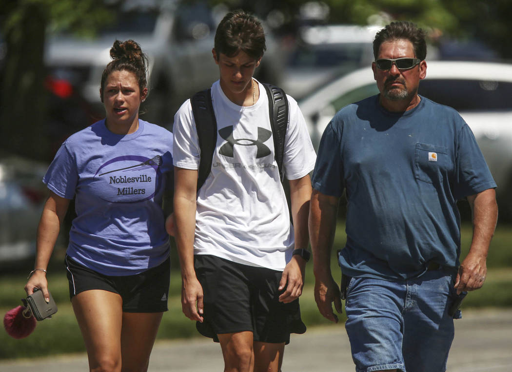 Scene near Noblesville High School on Friday, May 25, 208, after shooting at Noblesville West Middle School in Noblesville, Ind., after a shooting on Friday, May 25, 2018. A male student opened fi ...