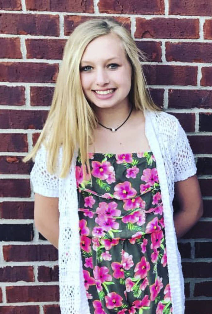 This undated photo provided by the Whistler family shows Ella Whistler. Whistler was shot in a classroom Friday, May 25, 2018 at Noblesville West Middle School in Noblesville, Ind., near Indianap ...