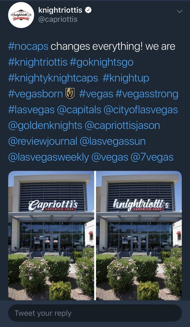 """A Capriotti's """"knightriottis"""" Twitter post is shown as part of the #nocaps campaign. (@Capriottis)"""