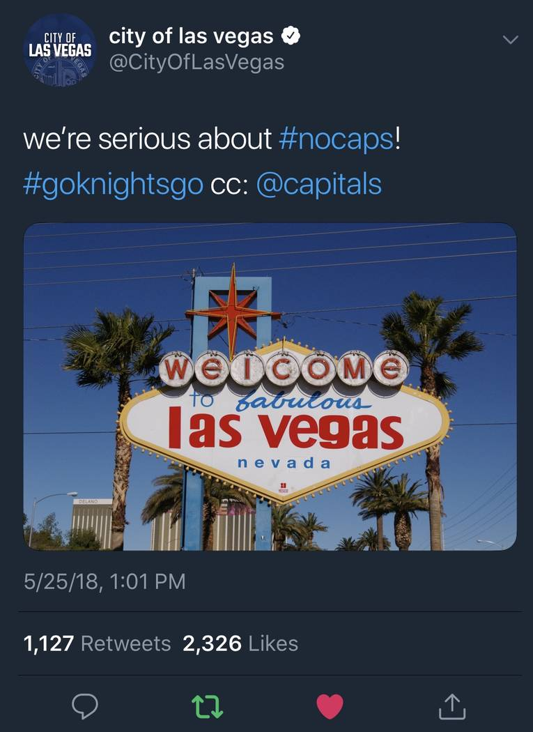 The City of Las Vegas Twitter page shows a digitally modified Welcome to Fabulous Las Vegas sign as part of the #nocaps campaign. (@CityOFLasVegas)