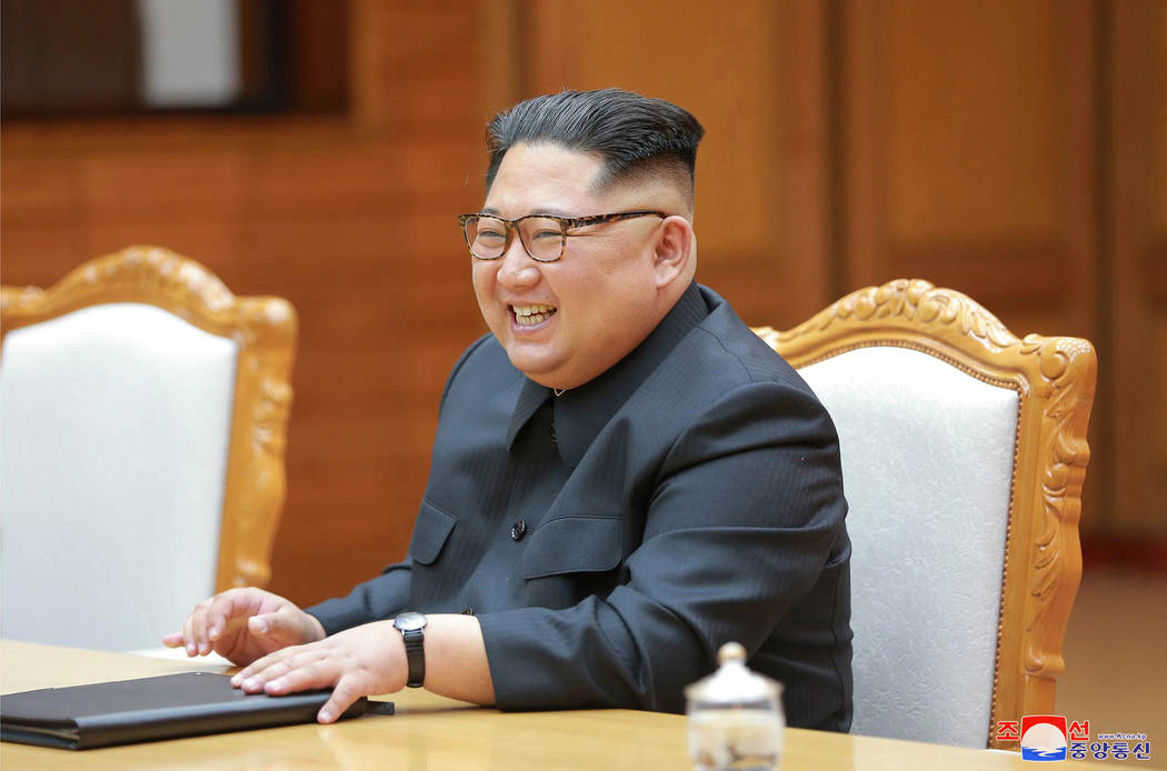 In this May 26, 2018, photo provided on May 27, 2018, by the North Korean government, North Korean leader Kim Jong Un attends a meeting with South Korean President Moon Jae-in, at the northern sid ...