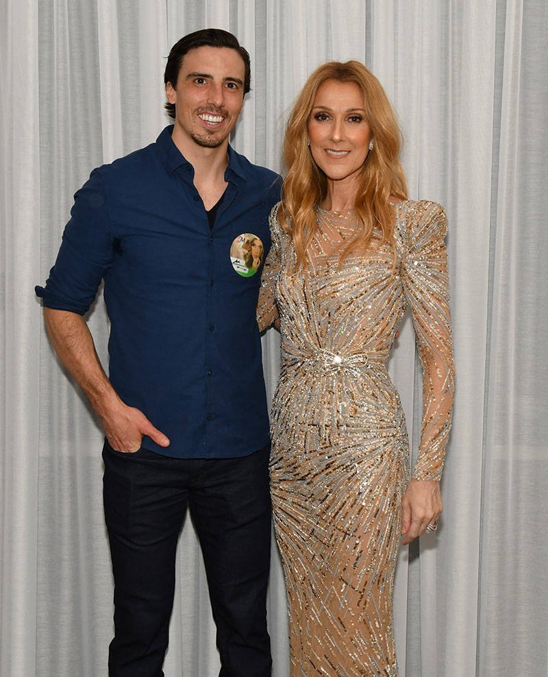 Marc-Andre Fleury and Celine Dion, after her show Saturday night at the Colosseum. (courtesy)