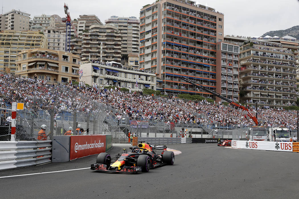 Red Bull driver Daniel Ricciardo of Australia steers his car during the Formula One race, at the Monaco racetrack, in Monaco, Sunday, May 27, 2018. (AP Photo/Luca Bruno)