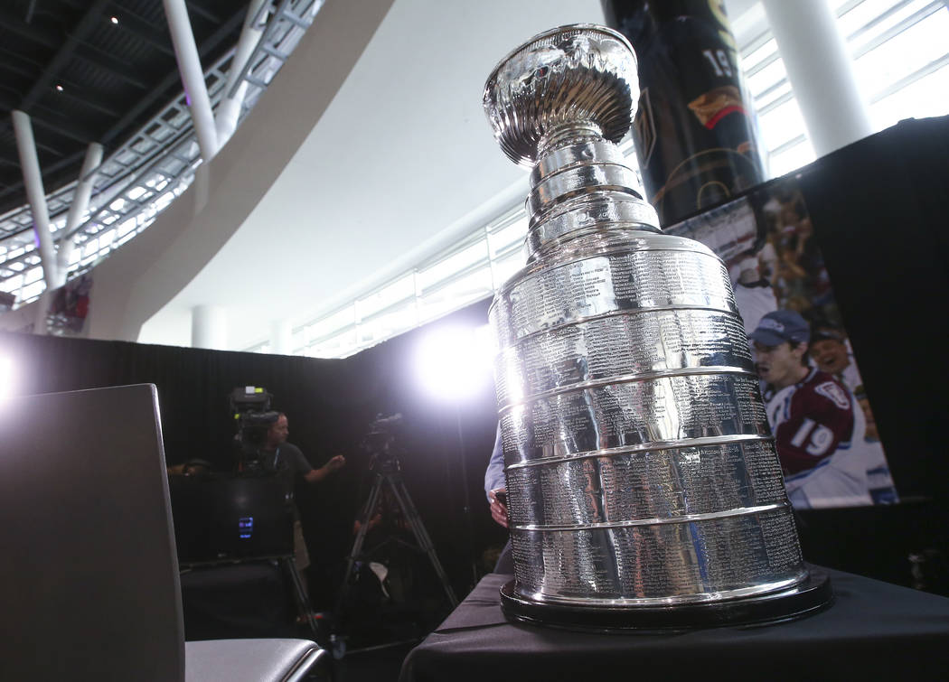 The Stanley Cup on display during NHL hockey media day for the Stanley Cup Final at the T-Mobile Arena in Las Vegas on Sunday, May 27, 2018. Chase Stevens Las Vegas Review-Journal @csstevensphoto