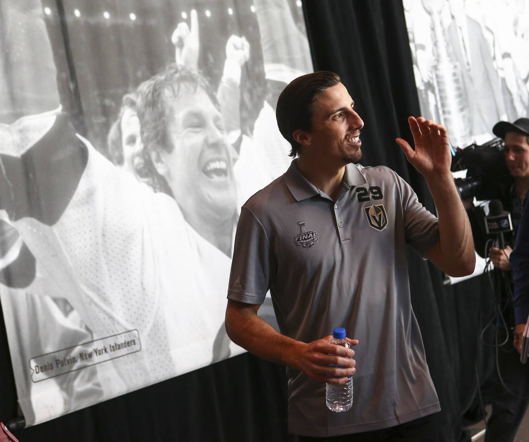 Golden Knights goaltender Marc-Andre Fleury speaks during NHL hockey media day for the Stanley Cup Final at the T-Mobile Arena in Las Vegas on Sunday, May 27, 2018. Chase Stevens Las Vegas Review- ...