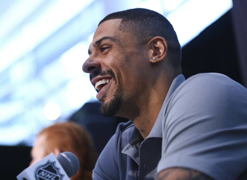 Golden Knights right wing Ryan Reaves speaks during NHL hockey media day for the Stanley Cup Final at the T-Mobile Arena in Las Vegas on Sunday, May 27, 2018. Chase Stevens Las Vegas Review-Journa ...