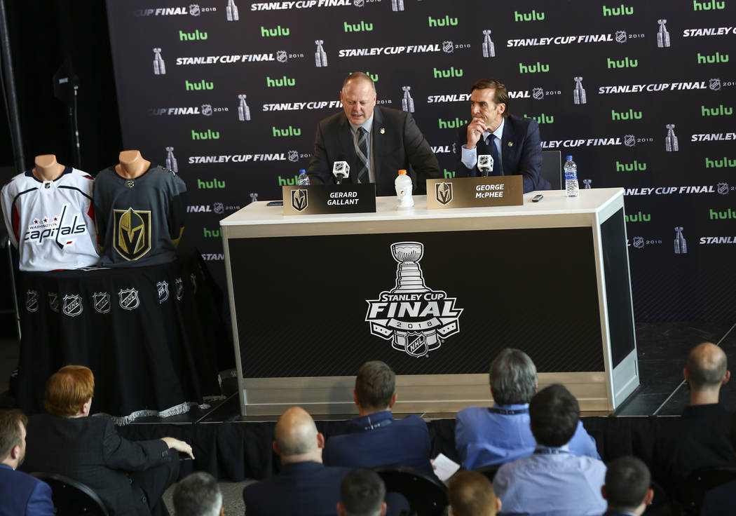 Golden Knights head coach Gerard Gallant and George McPhee, general manager of the team, speak during NHL hockey media day for the Stanley Cup Final at the T-Mobile Arena in Las Vegas on Sunday, M ...