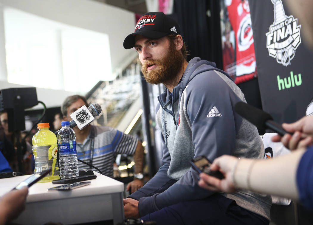 Washington Capitals goaltender Braden Holtby speaks during NHL hockey media day for the Stanley Cup Final at the T-Mobile Arena in Las Vegas on Sunday, May 27, 2018. Chase Stevens Las Vegas Review ...