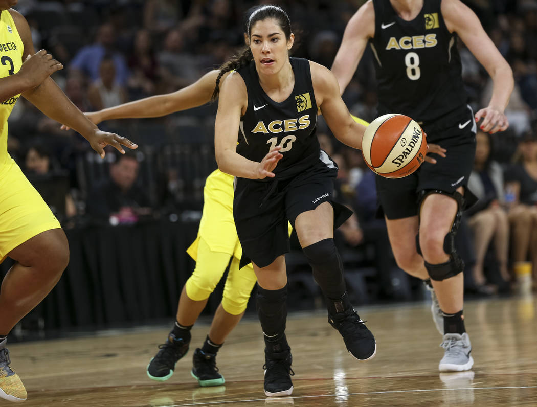 Las Vegas Aces guard Kelsey Plum (10) drives the ball against the Seattle Storm in the second half of a WNBA basketball game at the Mandalay Bay Events Center in Las Vegas on Sunday, May 27, 2018. ...