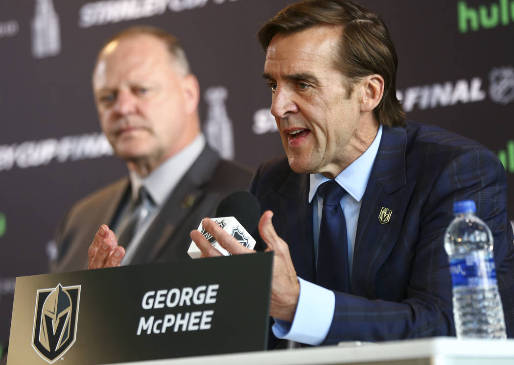 George McPhee, general manager of the Golden Knights, speaks during NHL hockey media day for the Stanley Cup Final at the T-Mobile Arena in Las Vegas on Sunday, May 27, 2018. Chase Stevens Las Veg ...