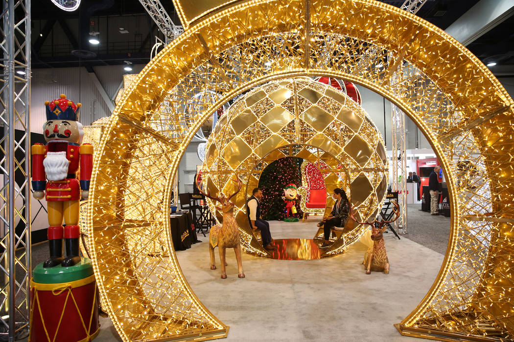 Holiday decorations on display during RECon expo at the Las Vegas Convention Center in Las Vegas, Tuesday, May 22, 2018. Erik Verduzco Las Vegas Review-Journal @Erik_Verduzco