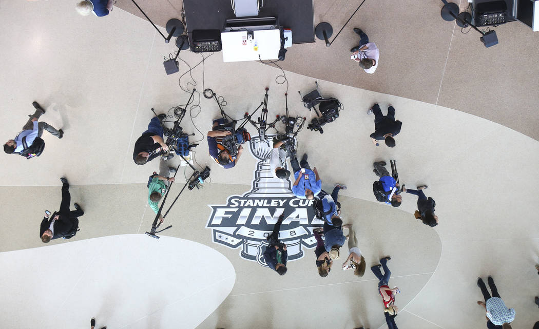 Members of the media wait to interview players during NHL hockey media day for the Stanley Cup Final at the T-Mobile Arena in Las Vegas on Sunday, May 27, 2018. Chase Stevens Las Vegas Review-Jour ...