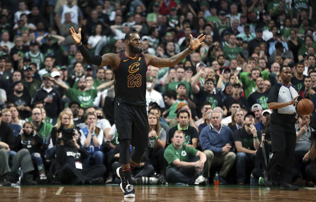 2baf4d1156e Cleveland Cavaliers forward LeBron James gestures during the second half in Game  7 of the NBA