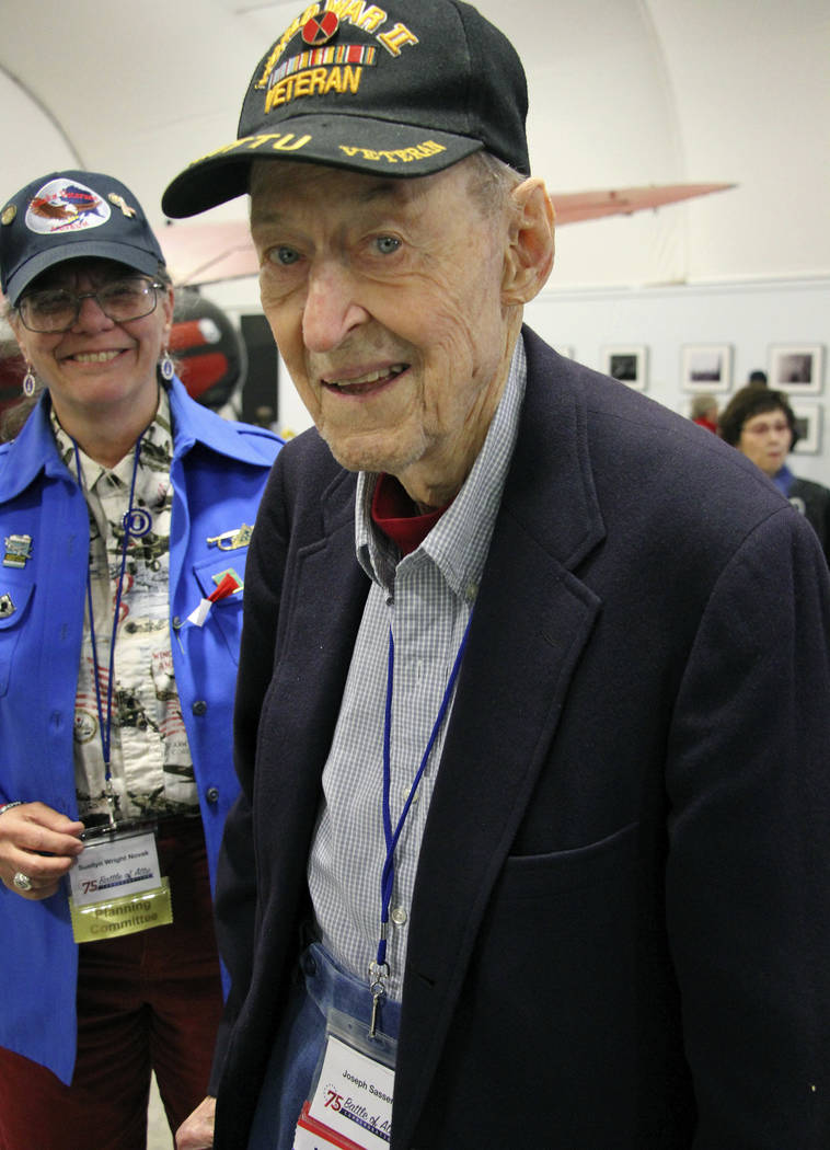In this May 19, 2018, photo World War II veteran Joseph Sasser, of Carthage, Miss., attends a 75th anniversary celebration of the Battle of Attu in Anchorage, Alaska. Dover was an American soldier ...