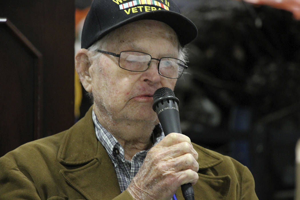 In this May 19, 2018, photo World War II veteran William Roy Dover, of Haleyville, Ala., speaks at a 75th anniversary celebration of the Battle of Attu in Anchorage, Alaska. Dover was an American ...