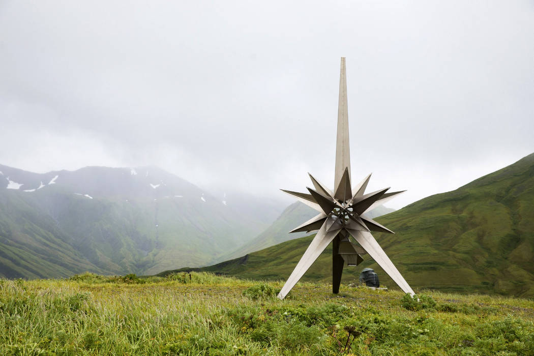 This Aug. 22, 2017, photo provided by the U.S. Fish and Wildlife Service, shows a titanium Peace Memorial at the crest of Engineer Hill on Attu Island, Alaska. One of the bloodiest World War II ba ...