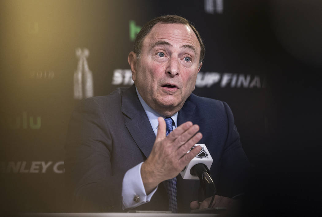 NHL Commissioner Gary Bettman answers questions during a press conference before Game 1 of the NHL Stanley Cup Finals on Monday, May 28, 2018, at T-Mobile Arena, in Las Vegas. Benjamin Hager Las V ...