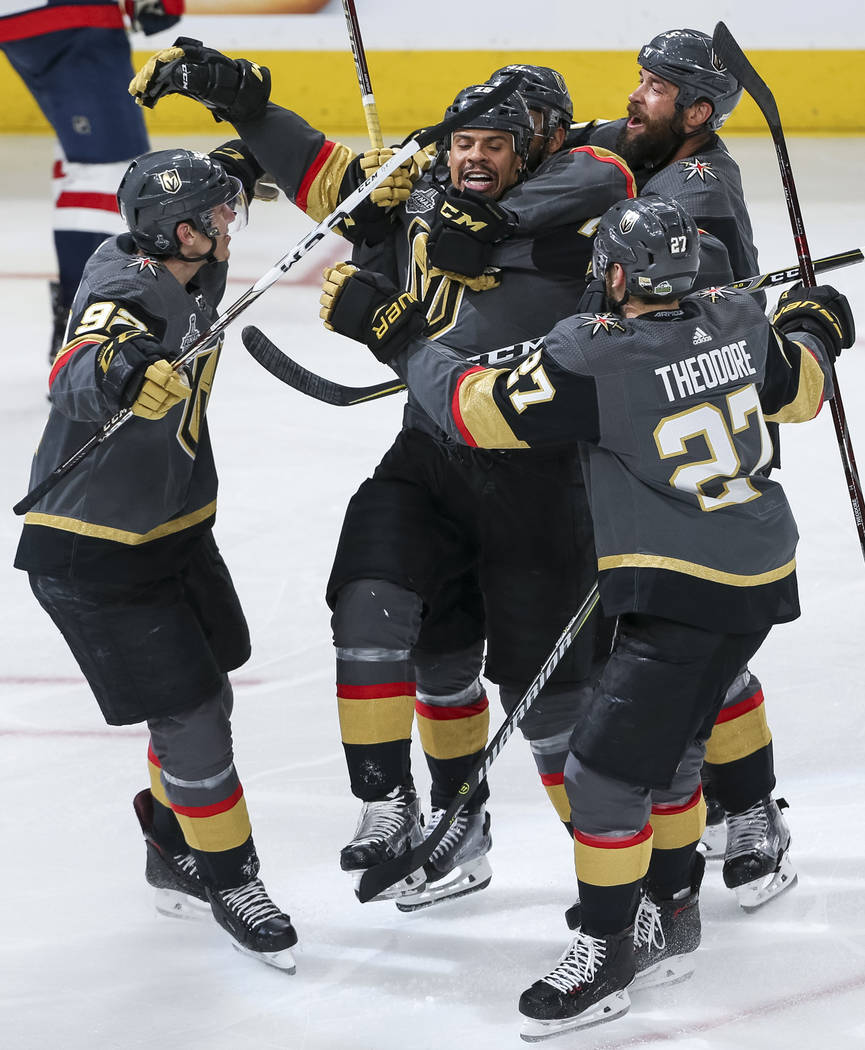 The Vegas Golden Knights celebrate a third period by Vegas Golden Knights right wing Ryan Reaves (75) in Game 1 of the NHL hockey Stanley Cup Finals between the Golden Knights and the Washington C ...