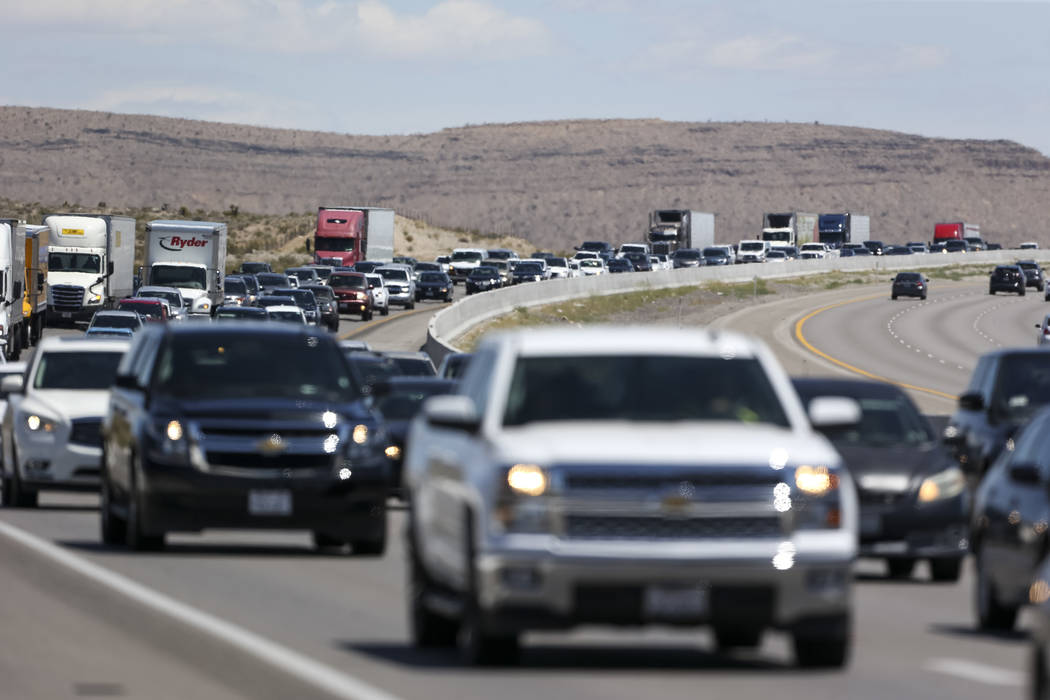 Heavy traffic moves along southbound Interstate 15 near Jean on Monday, May 28, 2018. (Richard Brian/Las Vegas Review-Journal) @vegasphotograph