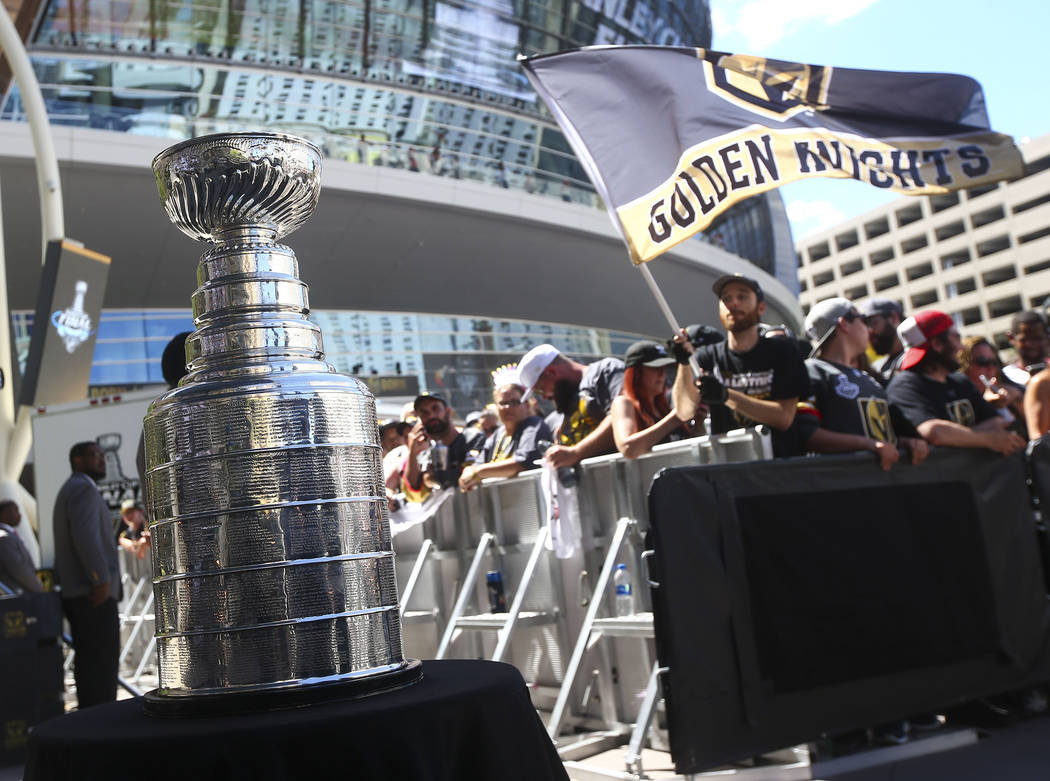 The Stanley Cup on display before a concert ahead of Game 1 of the NHL hockey Stanley Cup Final at the T-Mobile Arena in Las Vegas on Monday, May 28, 2018. Chase Stevens Las Vegas Review-Journal @ ...