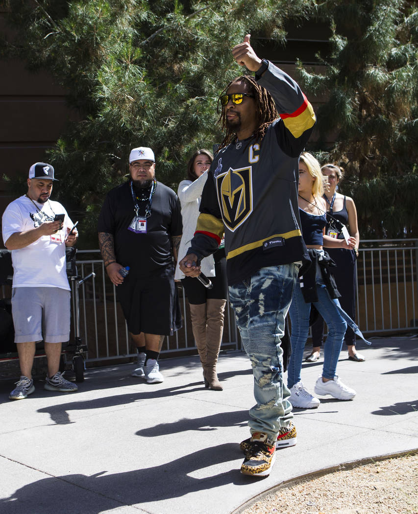 Lil Jon reacts before performing for fans ahead of Game 1 of the NHL hockey Stanley Cup Final at the T-Mobile Arena in Las Vegas on Monday, May 28, 2018. Chase Stevens Las Vegas Review-Journal @cs ...