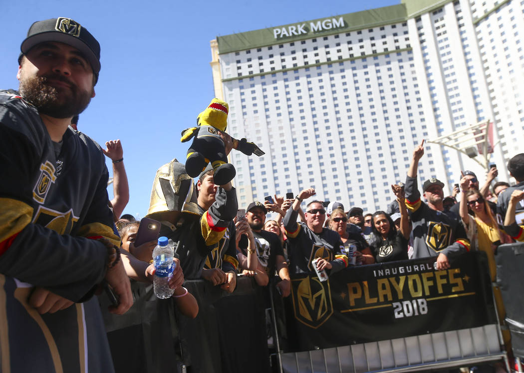 Golden Knights fans cheer before a concert ahead of Game 1 of the NHL hockey Stanley Cup Final at the T-Mobile Arena in Las Vegas on Monday, May 28, 2018. Chase Stevens Las Vegas Review-Journal @c ...