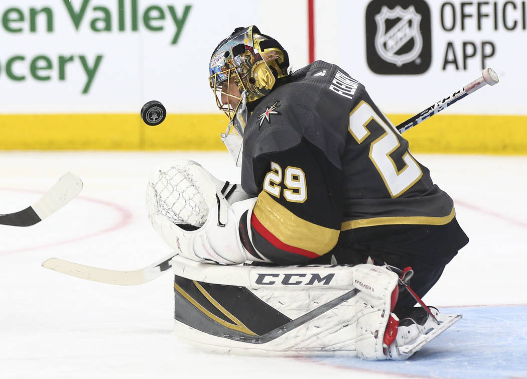 Golden Knights goaltender Marc-Andre Fleury (29) makes a save against the Washington Capitals during the second period of Game 1 of the NHL hockey Stanley Cup Final at the T-Mobile Arena in Las Ve ...