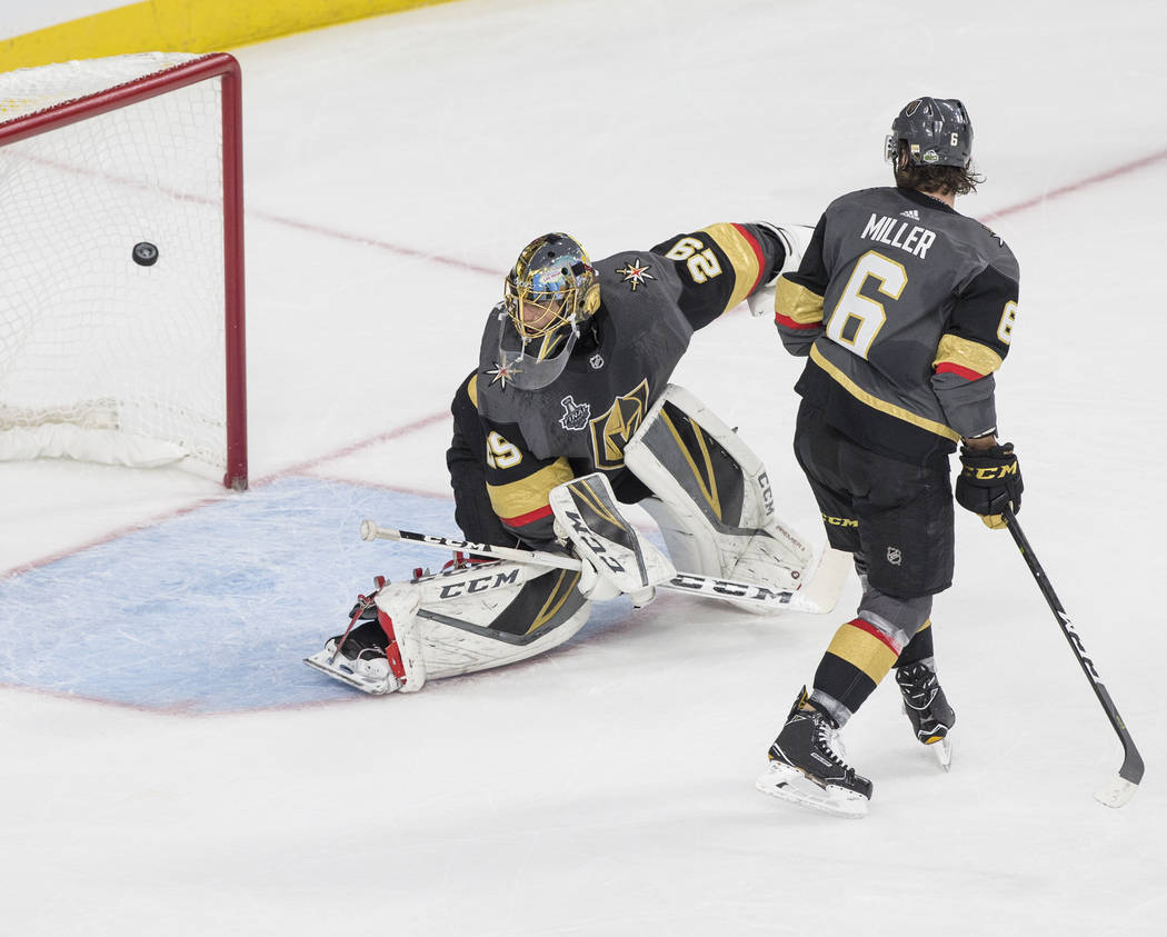 Golden Knights goaltender Marc-Andre Fleury (29) gives up a first-period goal during Vegas' Game 1 matchup with the Washington Capitals during the NHL Stanley Cup Finals on Monday, May 28, 2018, a ...