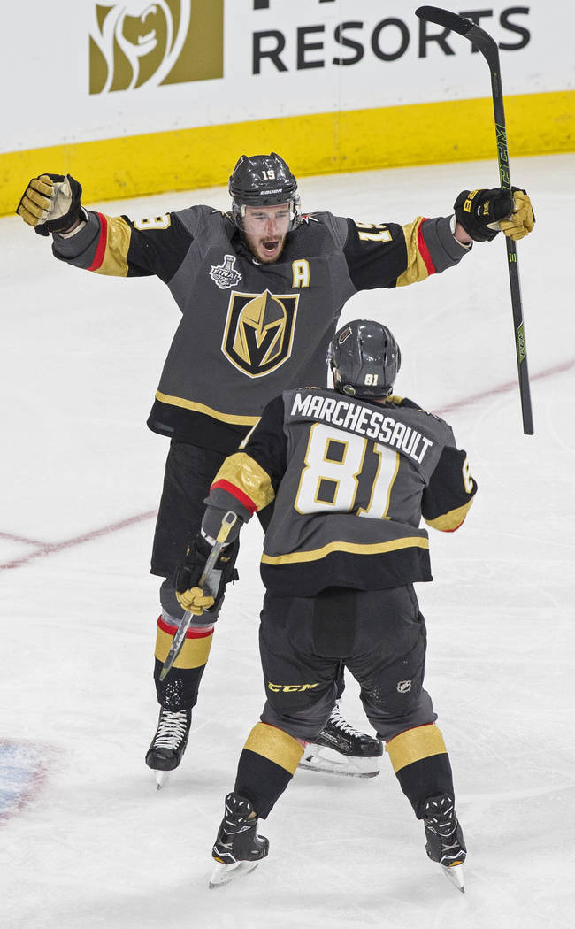 Golden Knights right wing Reilly Smith (19) celebrates with center Jonathan Marchessault (81) after scoring a second-period goal during Game 1 of the NHL Stanley Cup Finals with the Washington Cap ...