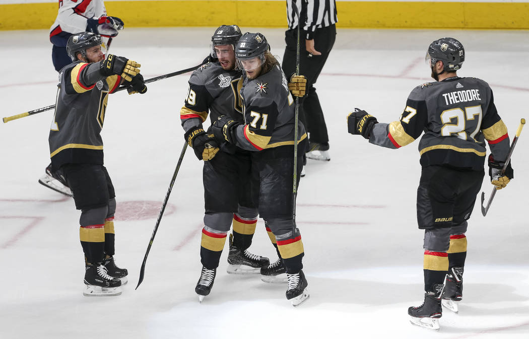 The Vegas Golden Knights celebrate a first period goal by center William Karlsson (71) in Game 1 of the NHL hockey Stanley Cup Finals between the Golden Knights and the Washington Capitals at T-Mo ...