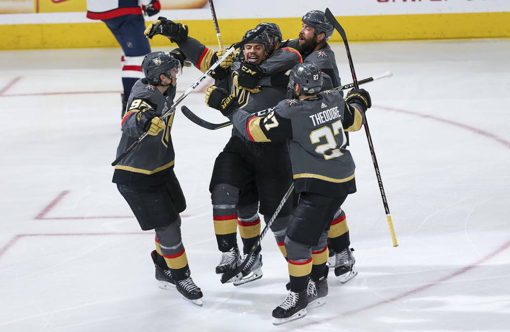The Vegas Golden Knights celebrate a third period goal by Vegas Golden Knights right wing Ryan Reaves (75) in Game 1 of the NHL hockey Stanley Cup Finals between the Golden Knights and the Washing ...