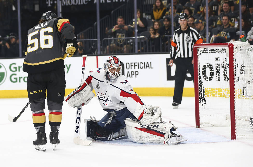 Golden Knights defenseman Colin Miller, not pictured, scores a goal past Washington Capitals goaltender Braden Holtby (70) during the first period of Game 1 of the NHL hockey Stanley Cup Final at ...