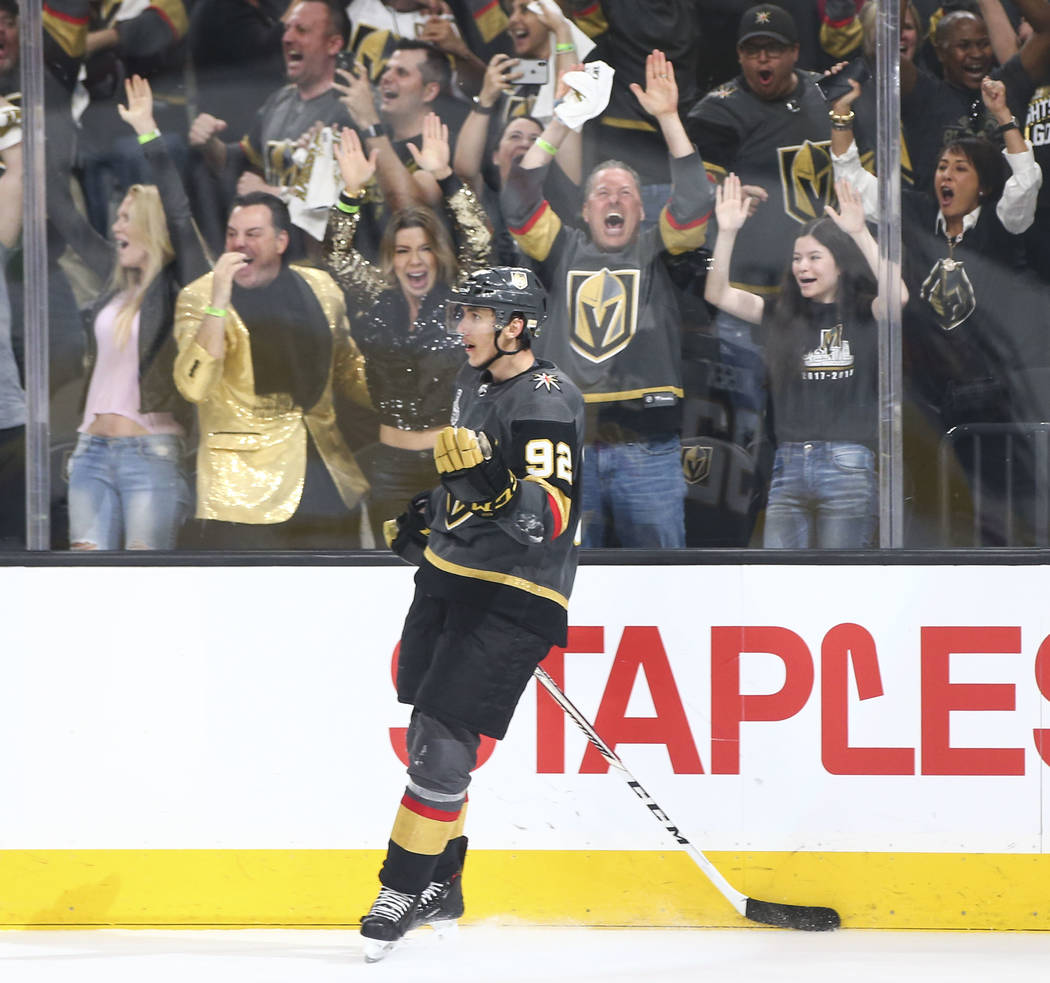 Golden Knights left wing Tomas Nosek (92) celebrates his empty net goal against the Washington Capitals during the third period of Game 1 of the NHL hockey Stanley Cup Final at the T-Mobile Arena ...